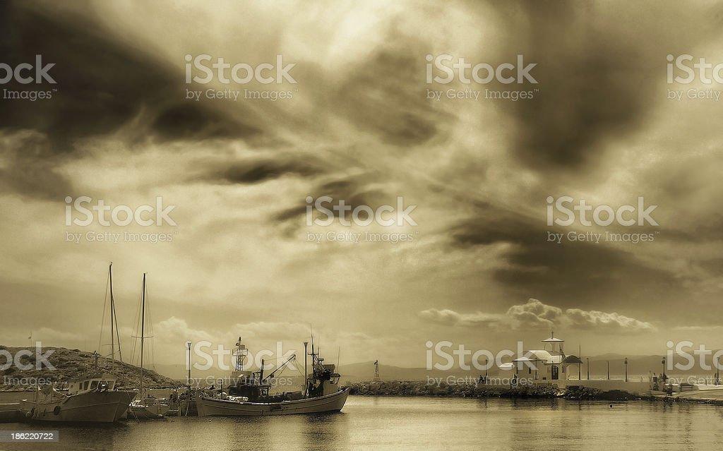 Idyllic seascape in Sepia royalty-free stock photo