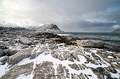 Idyllic Snowy Fjord Landscape