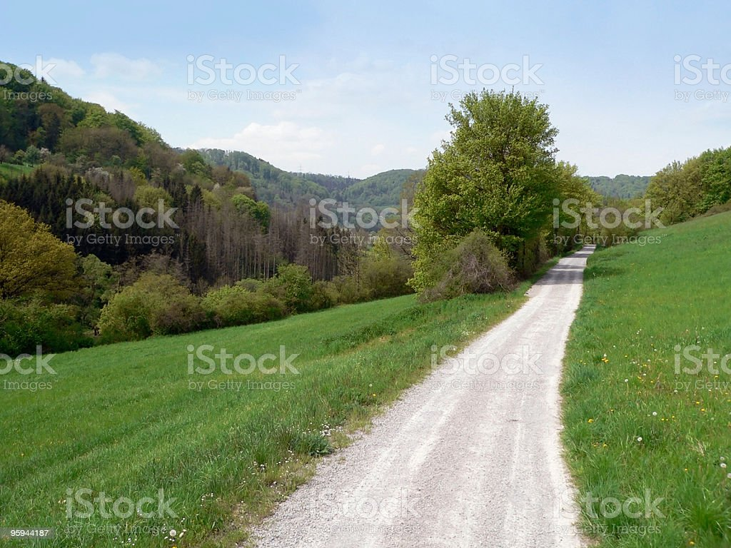idyllic spring scenery with fieldpath royalty-free stock photo
