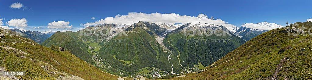 Idyllic summer Alpine mountain peak panorama stock photo