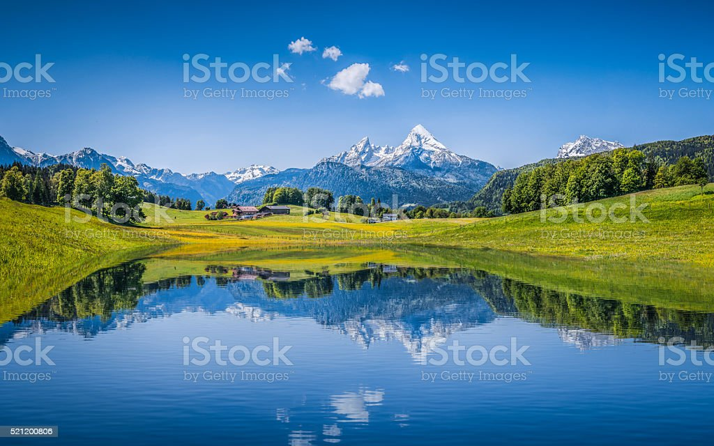 Panoramic view of idyllic summer landscape in the Alps with clear...