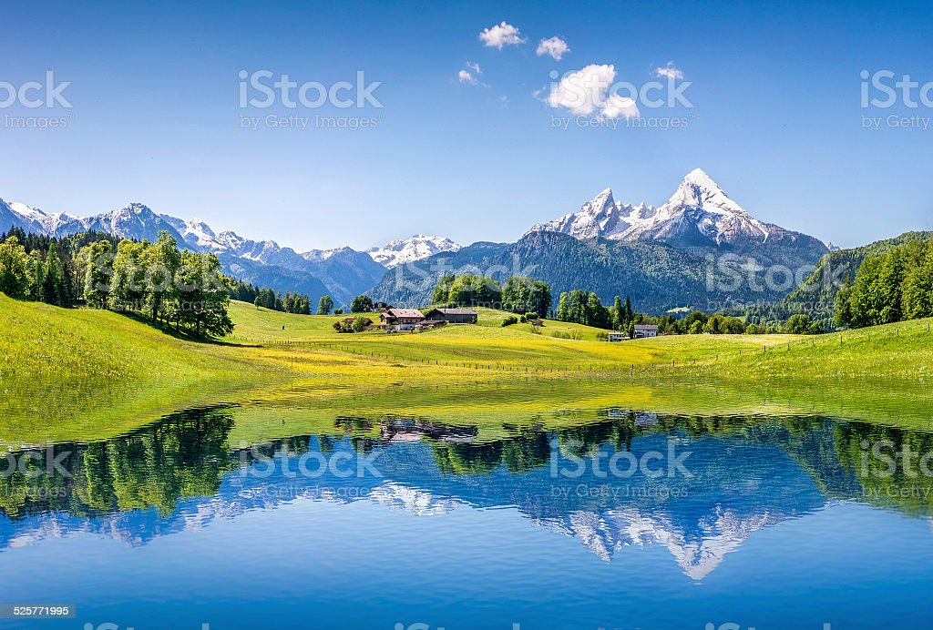 Idyllic summer landscape with mountain lake in the Alps stock photo