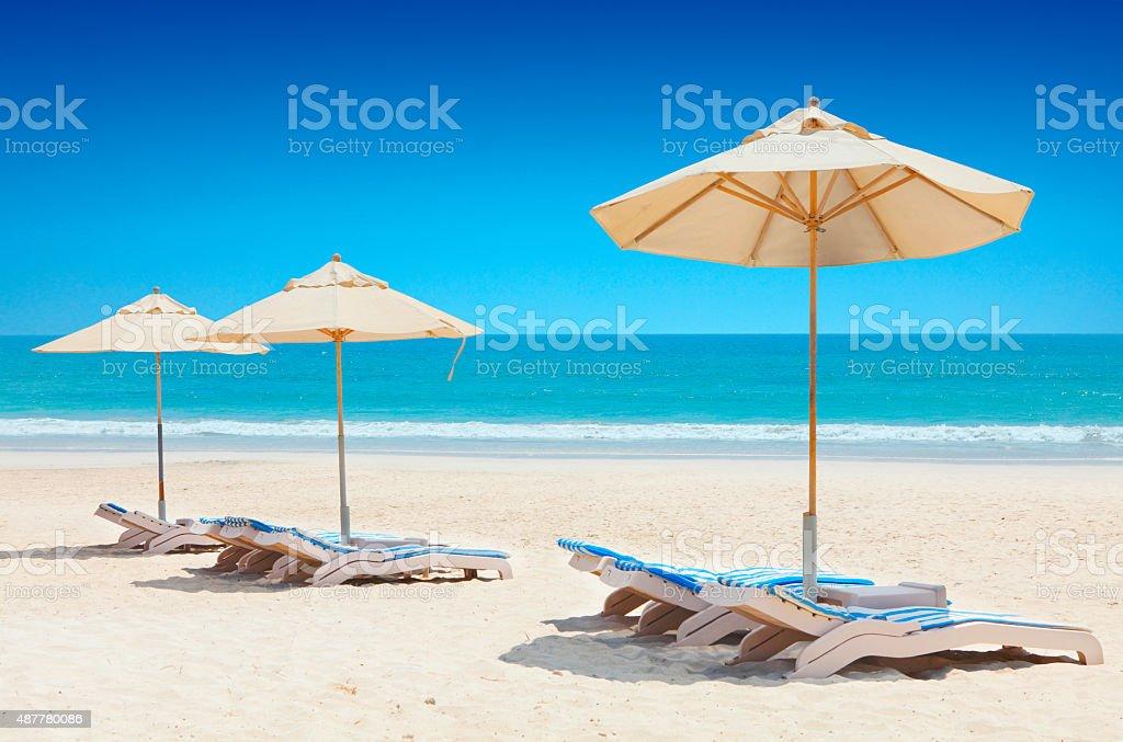 Idyllic sunny beach at Salalah in Oman stock photo