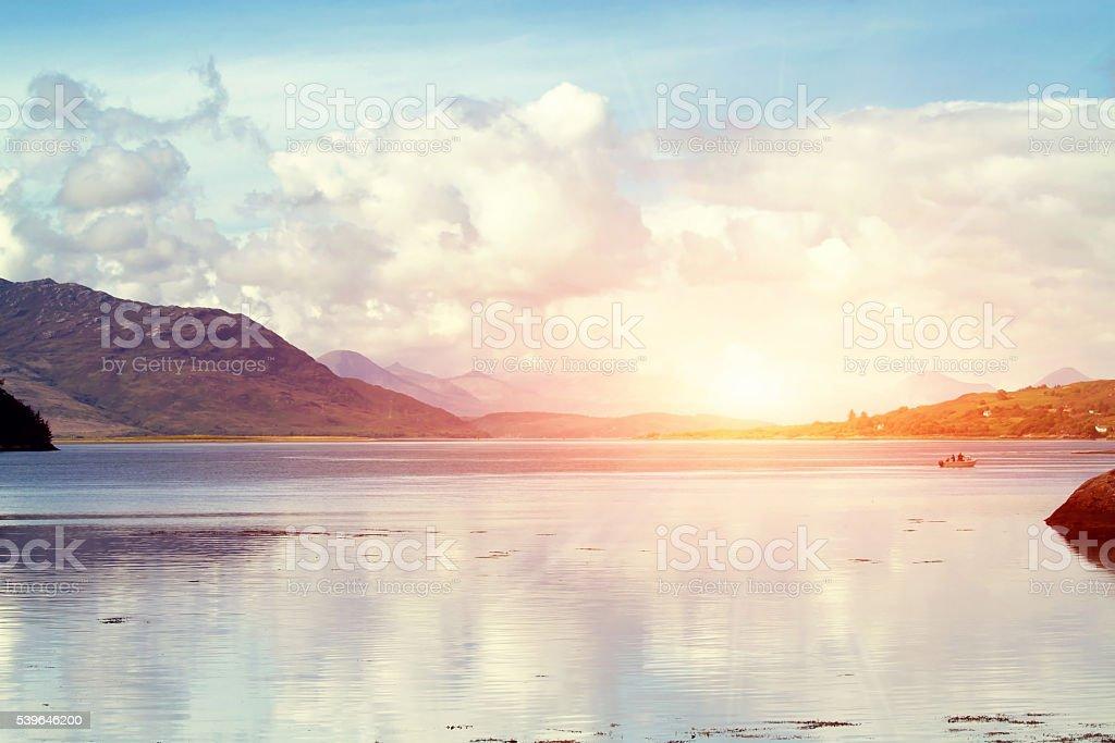 Idyllic sunrise in the scottish Highlands stock photo