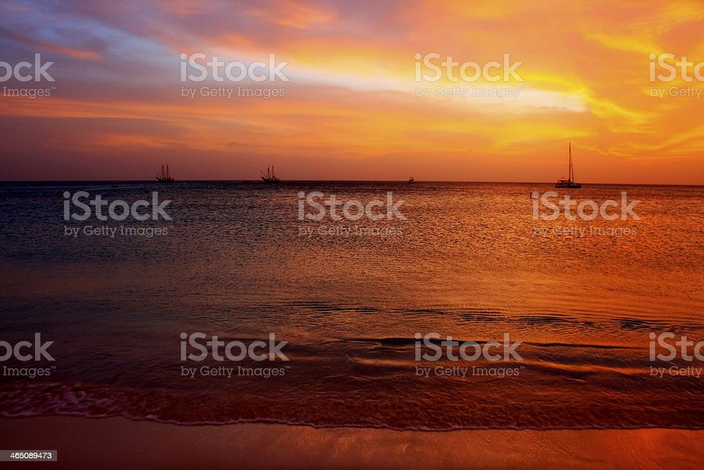 Idyllic sunset in Palm Beach, Aruba, Caribbean stock photo