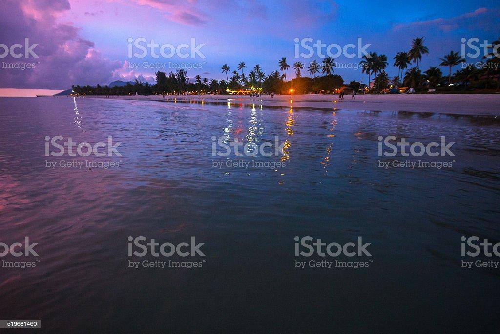 Idyllic Sunset on a Beach stock photo