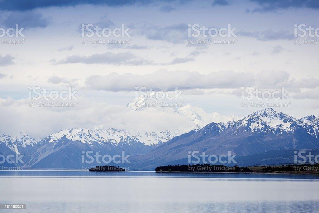 Idyllic Tekapo Lake in Aoraki National Park, New Zealand royalty-free stock photo