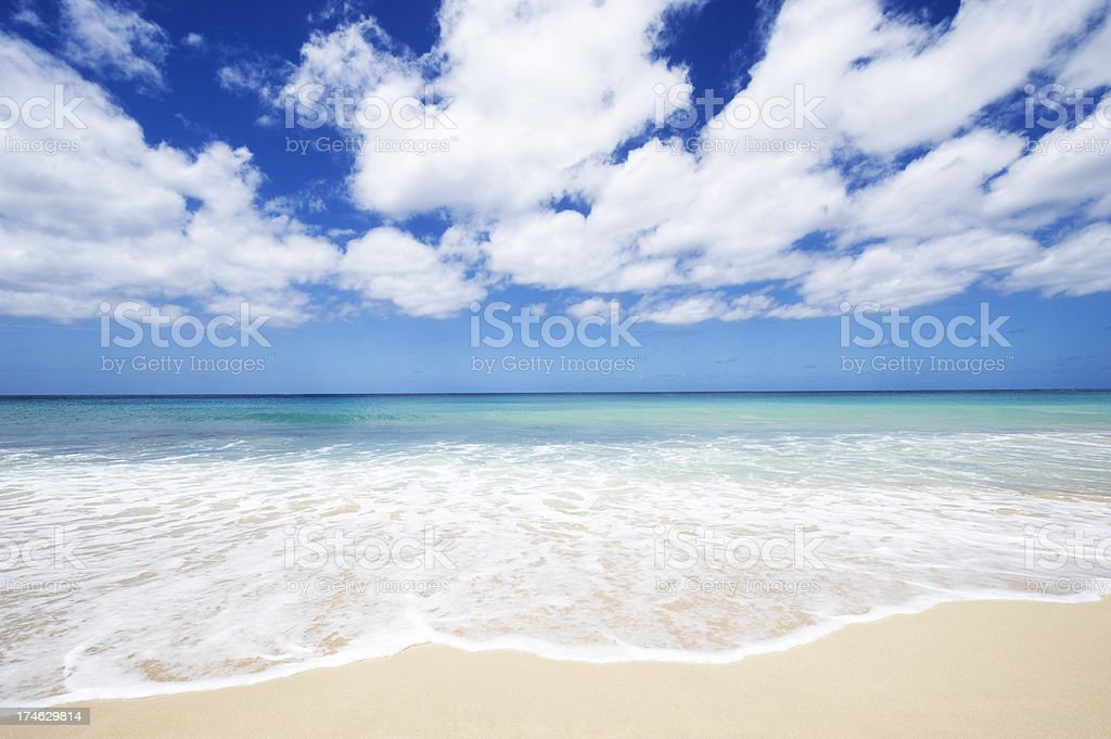 Idyllic Tropical Beach with Sea and White Clouds royalty-free stock photo
