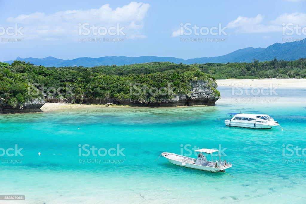 Idyllic tropical lagoon beach paradise of Okinawa, Japan stock photo