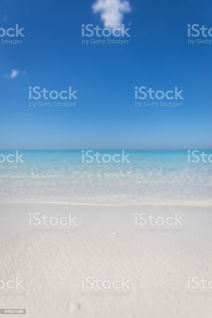Idyllic Tropical Sand Beach, Cayo Coco, Cuba stock photo