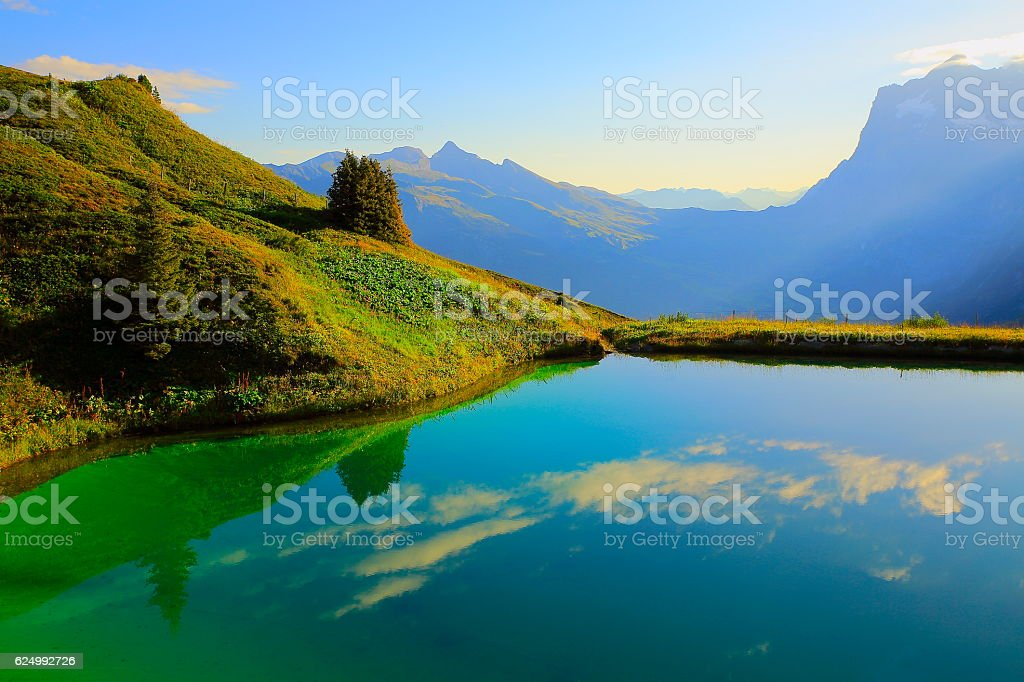 Idyllic turquoise lake reflection above Grindelwald valley: Swiss Alps sunrise stock photo