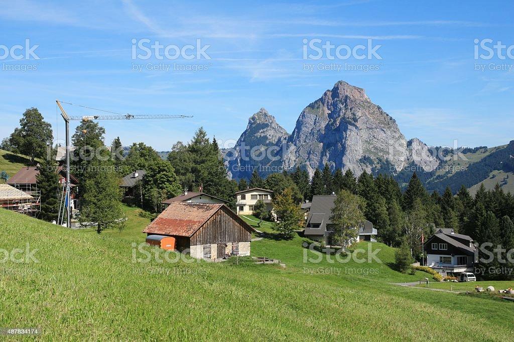 Idyllic vilage and holiday resort Stoos stock photo