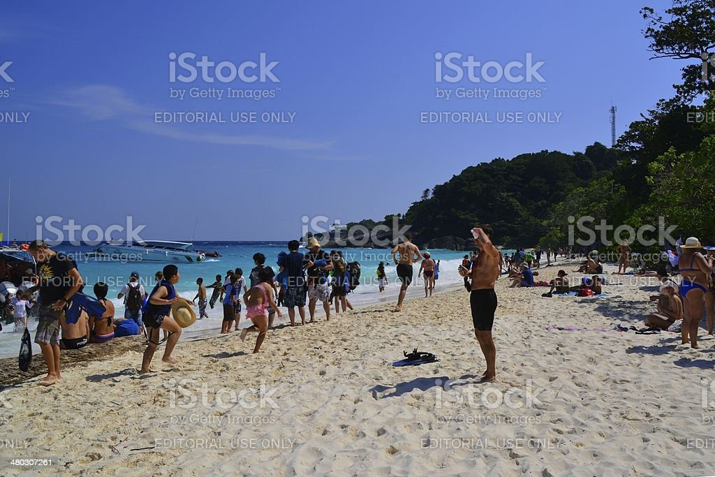 Idyllic white beach at Koh Miang in Similan islands archipelago stock photo