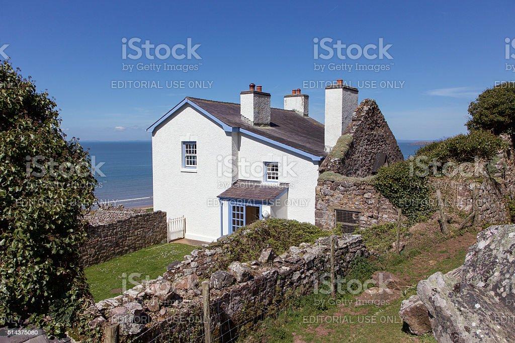 Idyllic White Cottage - Gower stock photo