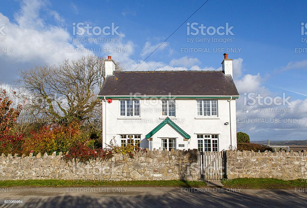 Idyllic White Country Cottage stock photo