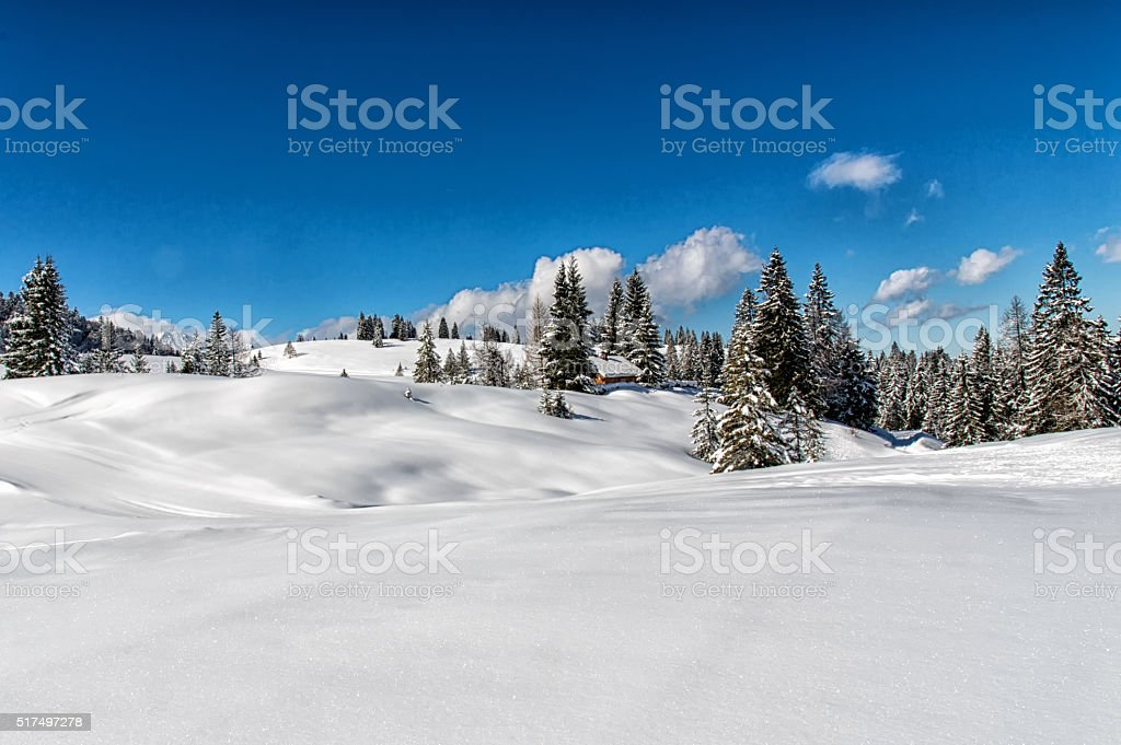 Idyllic winter landscape in the Alps with traditional mountain l stock photo