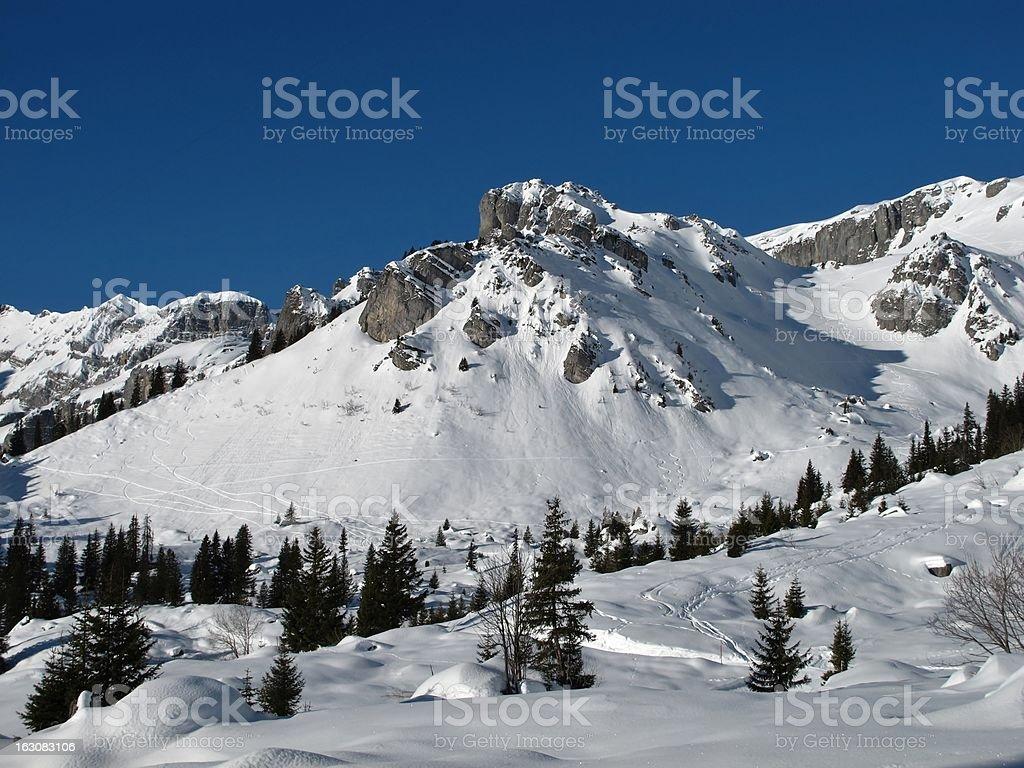 Idyllic winter landscape stock photo