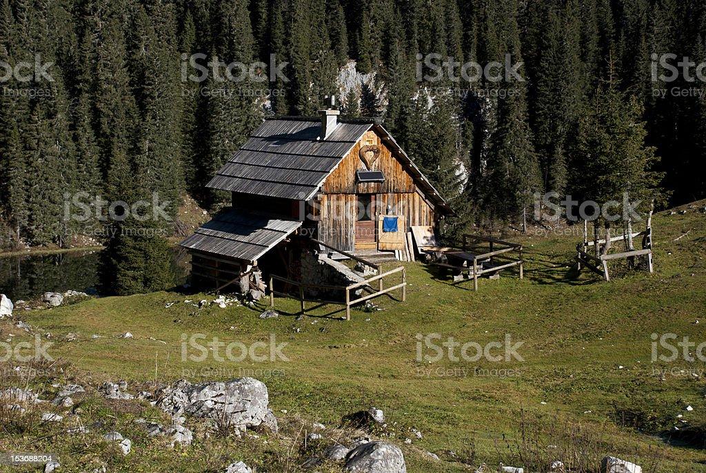 Idyllic wooden alpine cottage by the lake royalty-free stock photo