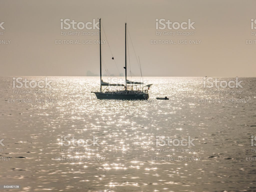 Idyllic Yacht Boat Sunlight Tropical Sea stock photo