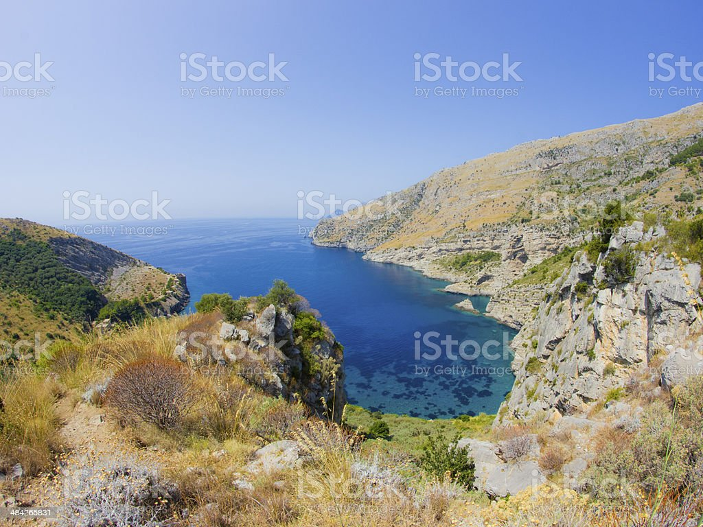 Ieranto Bay stock photo