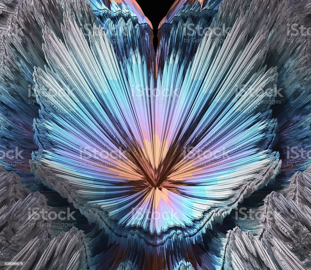 Colourful frosty blaze in pink and blue fractal image stock photo