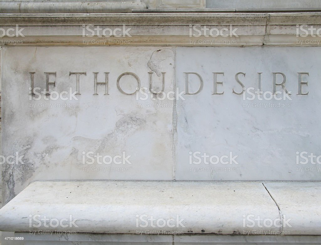 If Thou Desire – inscription in marble royalty-free stock photo