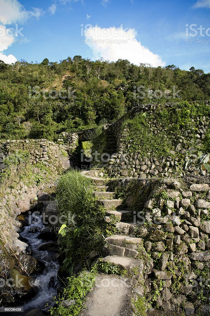Ifugao rice terraces stone steps by river royalty-free stock photo