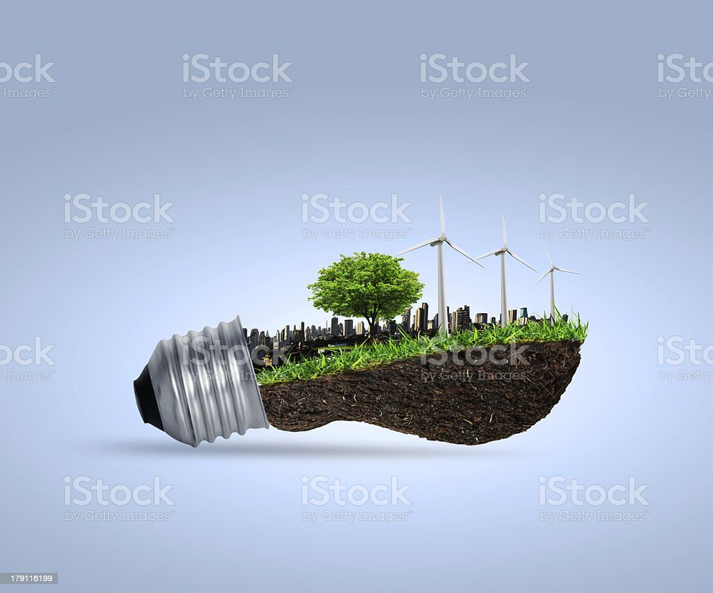 ight bulb Alternative energy concept stock photo