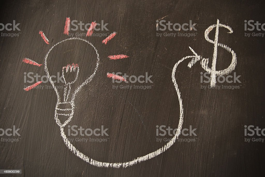 ight bulbs and Dollar sketched stock photo