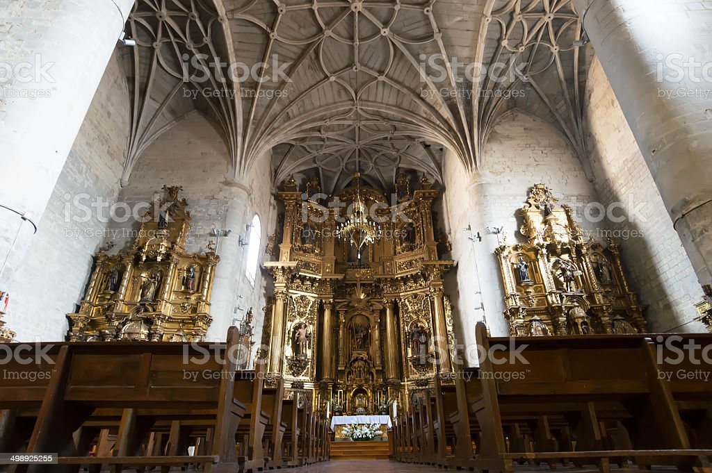 Iglesia de Santiago y San Pedro, Puente la Reina, Navarre stock photo