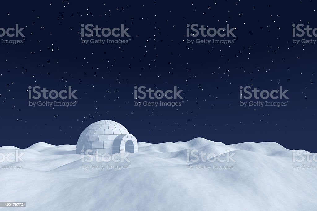 Igloo icehouse on snow field under night sky with stars stock photo