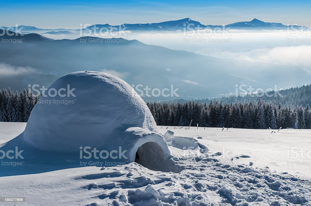 igloo in high mountains stock photo
