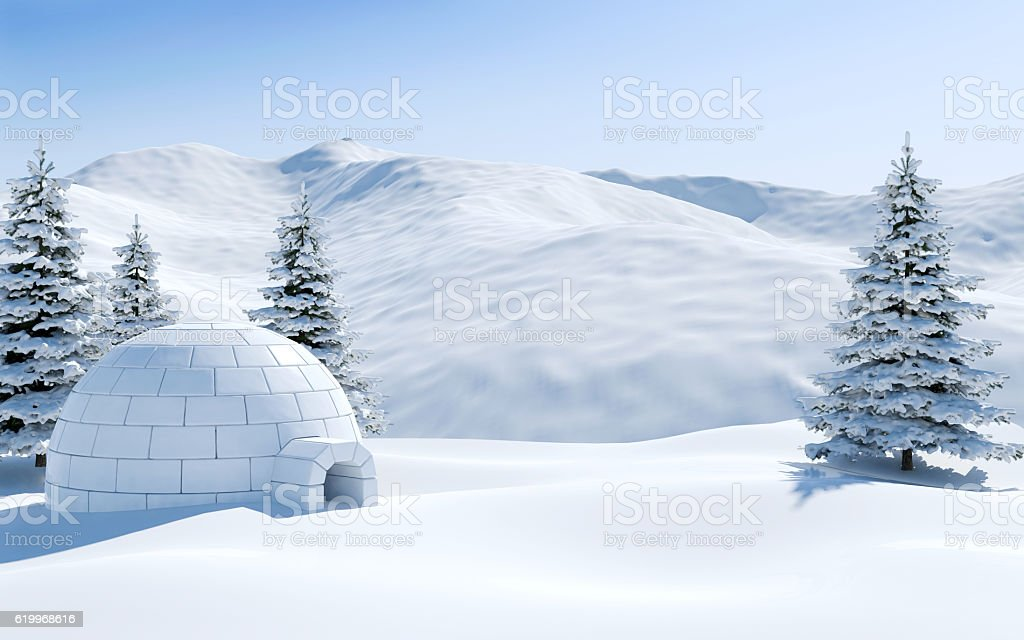 Igloo in snowfield with snowy mountain, Arctic landscape scene stock photo