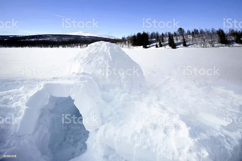 Igloo made in the snow in front of some trees and mountains royalty-free stock photo