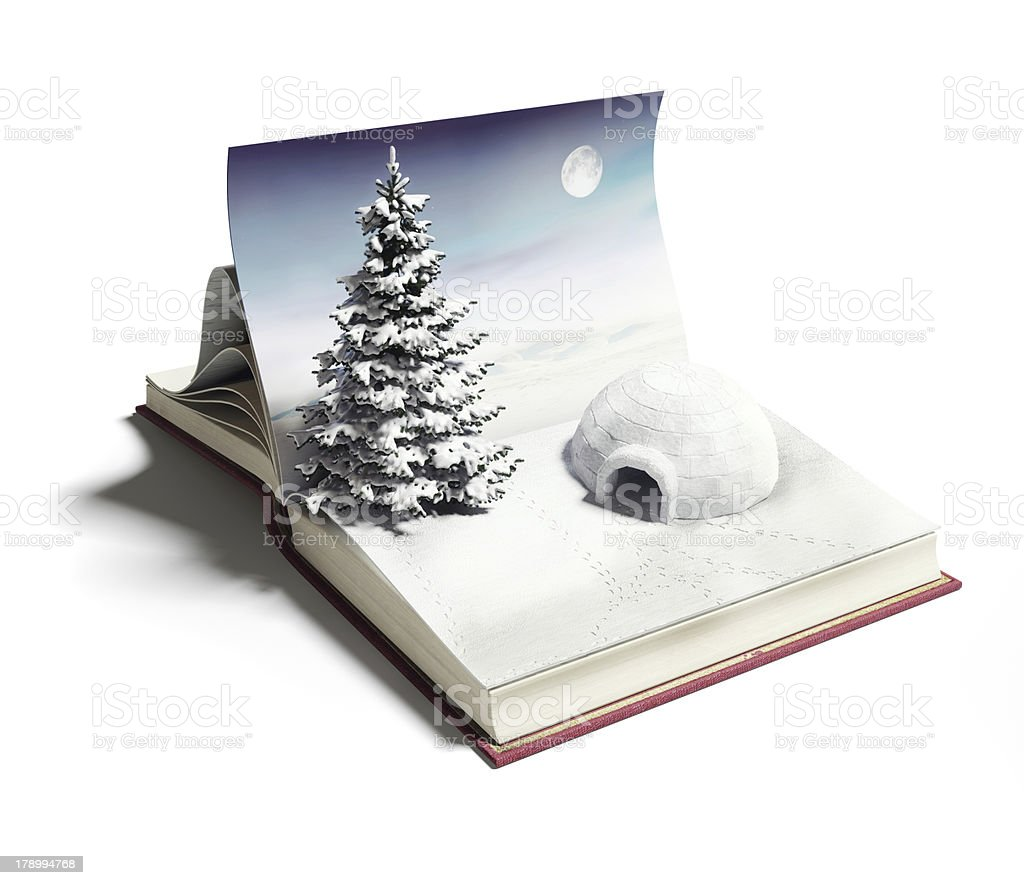 igloo on the open book royalty-free stock photo
