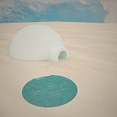 Igloo over polar plain with hole for fishing