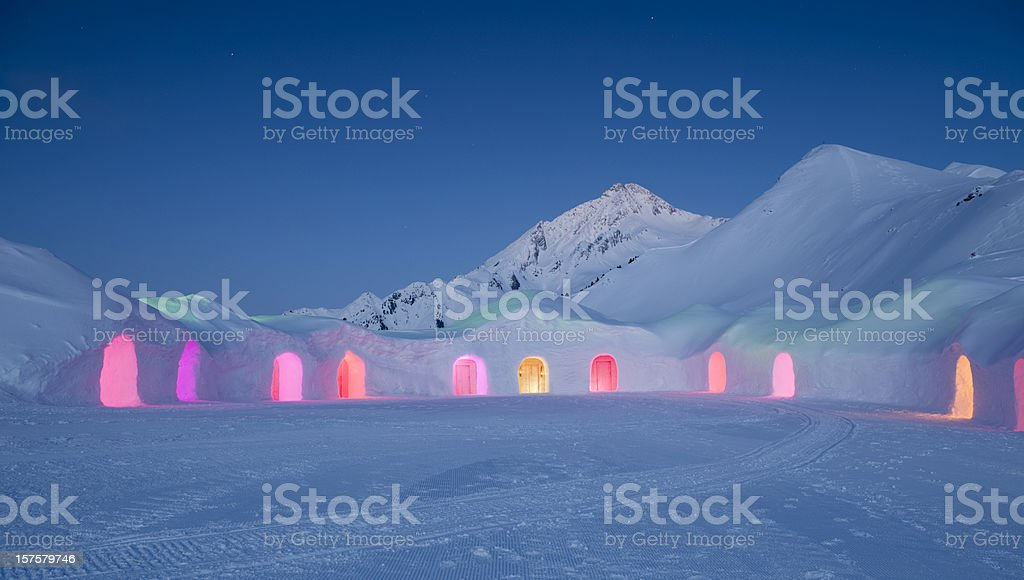 Igloo Village at Night (XXXL) stock photo