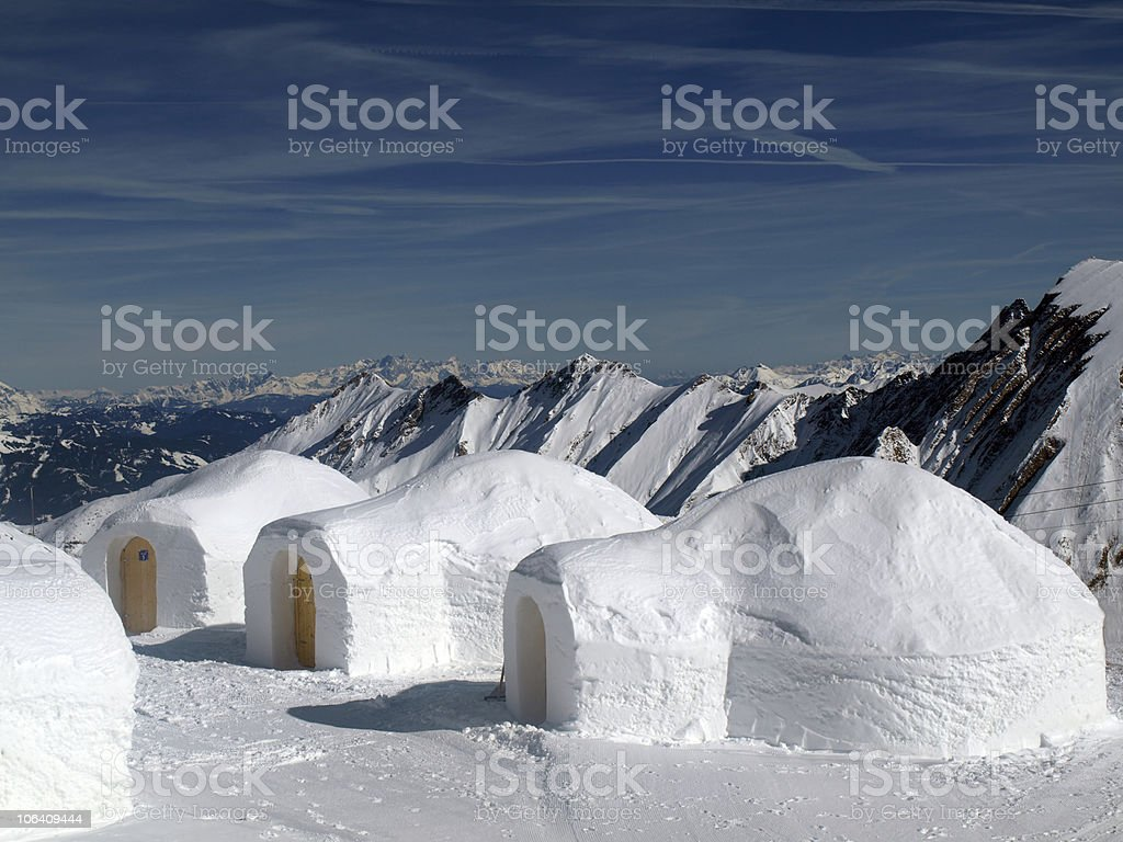 Igloos in the mountains stock photo
