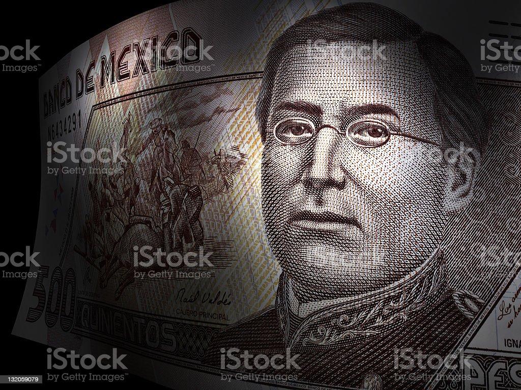 Ignacio Zaragoza's close up in a five hundred pesos bill stock photo