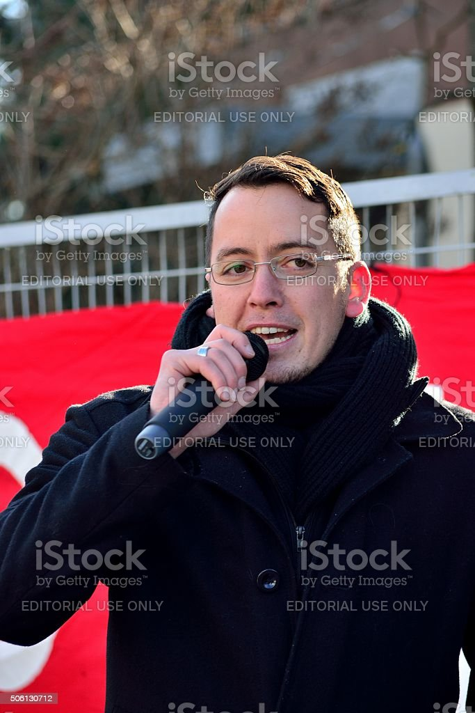 Ignaz Bearth speaks at protest rally in Graz stock photo