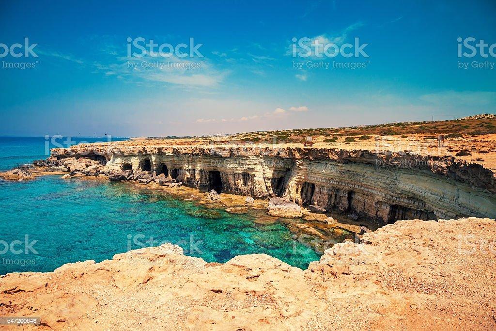 Igneous rocky sea coast stock photo