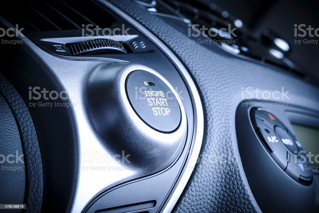 START/STOP ignition button in car, vehicle. stock photo