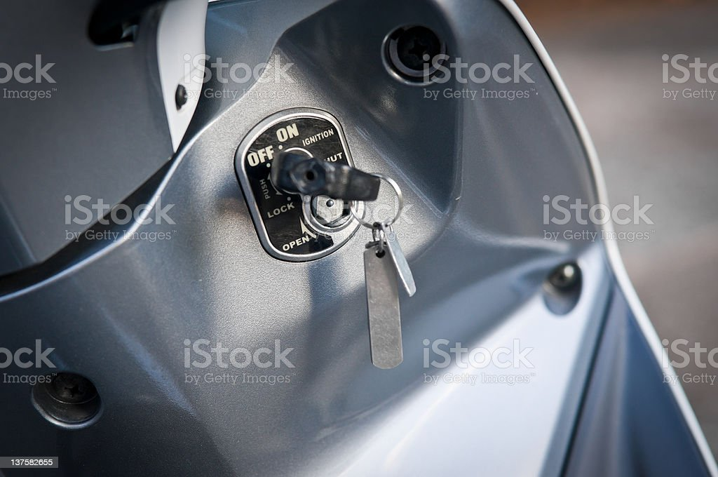 Ignition Key to Motorcycle. stock photo