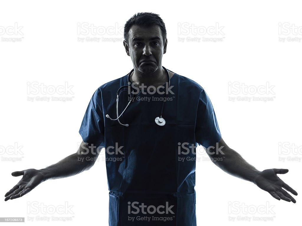 ignorant doctor man silhouette portrait stock photo