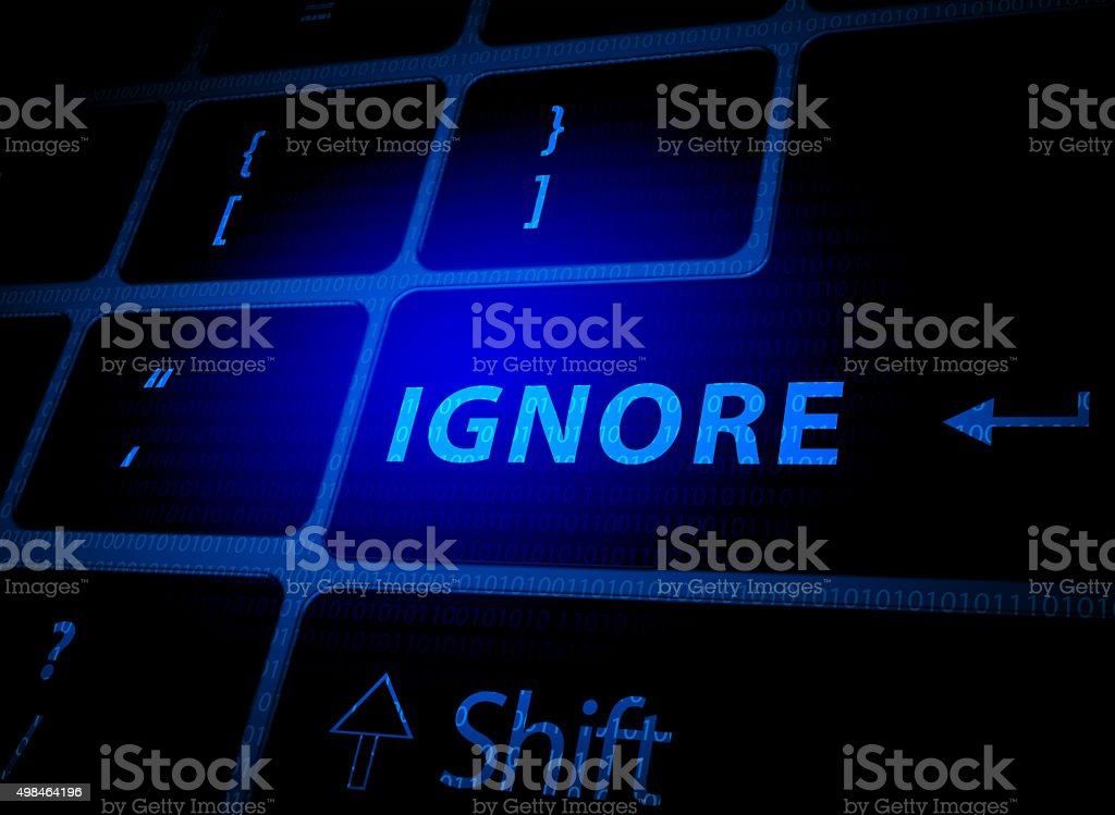 Ignore button on computer keyboard vector art illustration