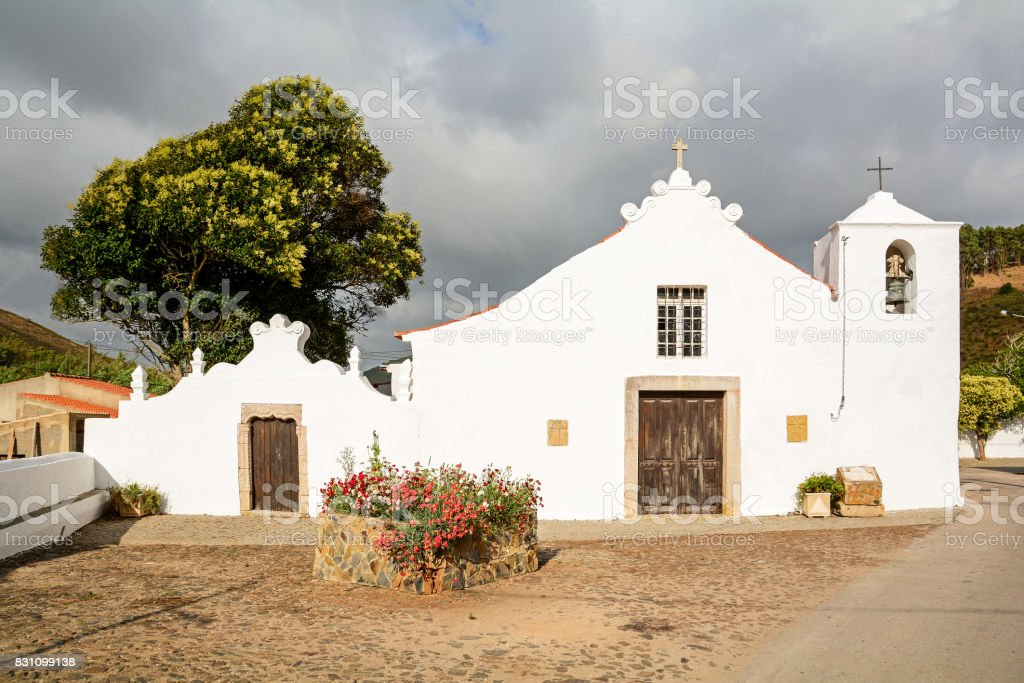 Igreja Paroquial da Bordeira - Historical church in the village Bordeira near Carrapateira, in the municipality of Aljezur in the District of Faro, Algarve Portugal stock photo