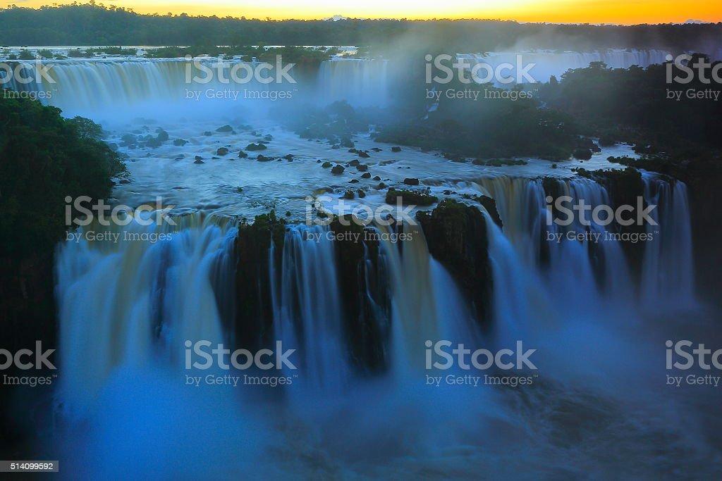 Iguacu blurred falls sunset, Brazil Argentina - long exposure stock photo