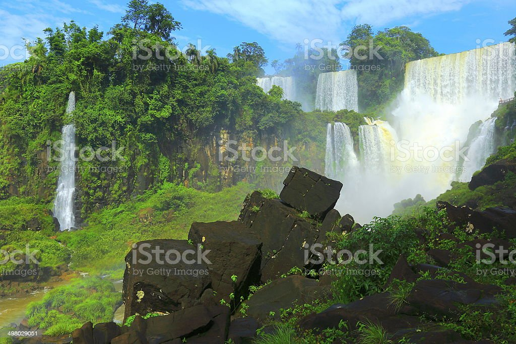 Iguacu falls at Argentina side - Waterfalls in rainforest stock photo
