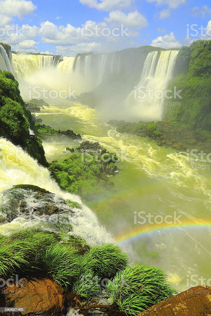 Iguacu Falls Devil's Throat and raimbow rainforest, Brazil / Argentina stock photo