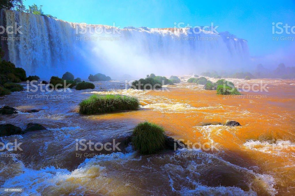 Iguacu falls flowing stream river, Brazil and Argentina border stock photo